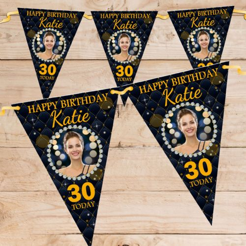 Personalised Black & Gold Diamond Quilt Happy Birthday Flag PHOTO Bunting Banner - N75 ANY AGE